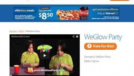 WeGlow Party on Walmart Site